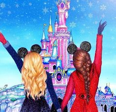 This represents me and my bff. I'm the brunette she's the blonde. I wish there was a third person in there for all 3 of us. Friends Drawing, Best Friend Drawings, Bff Drawings, Amazing Drawings, Beautiful Drawings, Disney Drawings, Easy Drawings, Drawings Of People, Best Friend Pictures