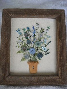 Antique Button Flower Arrangement in a by warnANDweathered on Etsy, $86.00