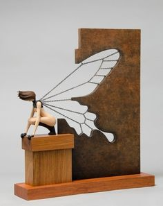 John Morris. Butterfly Effect. I can't help but wonder how long it took to get those chains to fall just right and look like feathers in the wings. Wonderful juxtaposition from the heavy metal around the wings to the figure - so many feels the more I contemplate this. GAWD Art is Cool!!