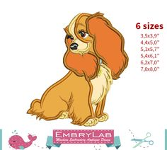 Applique Lady Dog. Lady and The Tramp. Machine Embroidery Applique Design. Instant Digital Download (17367) by EmbryLab on Etsy