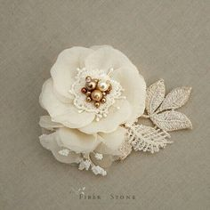 Golden Bridal Headpiece with Pearls, Vintage Inspired Wedding Headpiece, Ivory Bridal Hair Piece, Flower, Spring Wedding Hair Accessories Organza Flowers, Lace Flowers, Flowers In Hair, Fabric Flowers, Flower Petals, Headpiece Wedding, Bridal Headpieces, Hair Jewelry, Fabric Jewelry