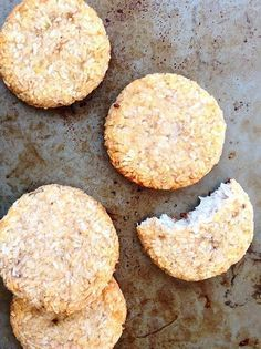 Three ingredient banana coconut cookies with NO gluten grains dairy eggs or added sugar! These moist and chewy cookies come together in a snap! They only require a bowl and spoon to make. Theyre also vegan and paleo for the win. Two Ingredient Cookies, My Favorite Food, Favorite Recipes, A Food, Food And Drink, Ice Cream Bites, Chocolate Chip Ice Cream, Banana Coconut, Coconut Cookies