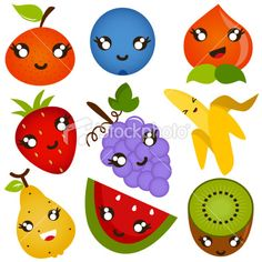 Cute vector Icons : Design Elements : Fruit Smiling (I) Royalty Free Stock Vector Art Illustration