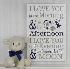 Navy and Gray Wood Sign with Painted Spaceship Planets Moon and Stars Sign: I love you in the morning, & in the afternoon, I love you in the evening & underneath the moon. This sign measures approximately 11x16 or 16x23comes with hanger on the back. Signs painted Linen (off white)