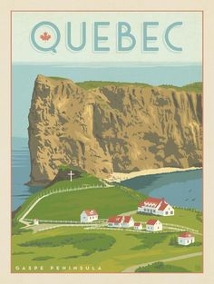 Anderson Design Group – World Travel – Canada: Quebec's Perce Gaspe Peninsula Wave Illustration, Canadian Travel, Art Deco Posters, Travel Scrapbook, Vintage Travel Posters, Places To Travel, Travel Photography, Largest Countries, Countries Of The World