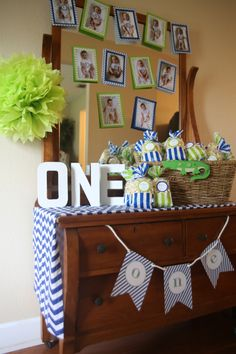 blue and green gator themed first birthday boy