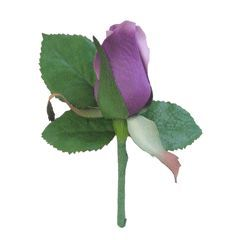 """Rose Boutonniere in Purple<br>4.5"""" Tall<br>4 per Pack"""