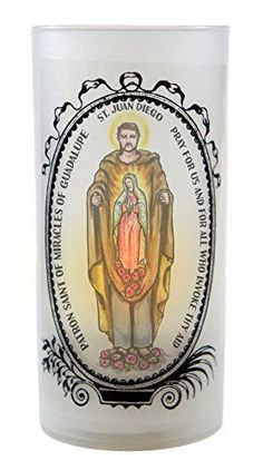 Saint Juan Diego Patron of Miracles of Guadalupe Led Tea Light Cup Flickering Prayer Candle