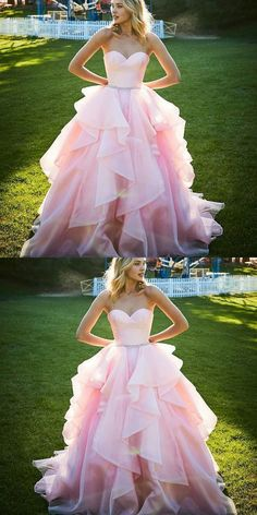 Sweetheart A-Line Sweep Train Tiered Pink Prom Dress with Beading Belt Prom Dresses Pink, A-Line Prom Dresses, Prom Dress Prom Dresses 2019 Prom Dresses Long Pink, Pretty Prom Dresses, A Line Prom Dresses, Ball Gowns Prom, Quinceanera Dresses, Ball Dresses, Beautiful Dresses, Dress Prom, Pink Dresses