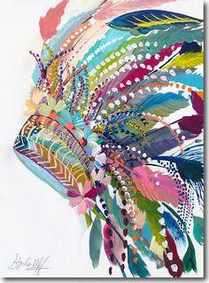 Desert Series IV, Starla Halfmann, oil, print, giclee, fine art, skyline, feather, headdress