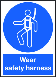 Wear safety harness sign.  Beaverswood - Identification Solutions