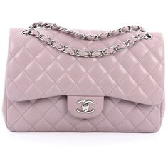 Pre-Owned Chanel Classic Double Flap Bag Quilted Lambskin Jumbo ($3,415) ❤ liked on Polyvore featuring bags, handbags, purple, lilac purse, colorful purses, preowned handbags, lilac handbag and quilted purses