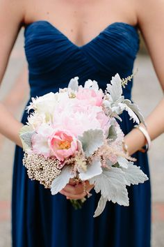 Bouquet of Peonies and Dusty Miller | Brides.com