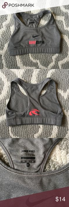 Nike Pro Sports Bra Extra Small Nike pro sports bra. Has surf cup logo on it. In great condition Nike Intimates & Sleepwear Bras