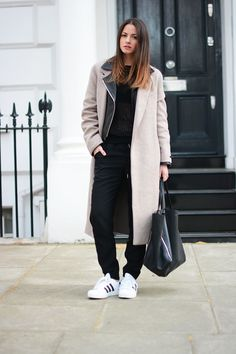 FashionVibe Wearing Bag From Celine, Pants From H&M, Leather Jacket From JBrand, Jumper From & Other Stories, Sneakers From Adida And  Coat From Zara