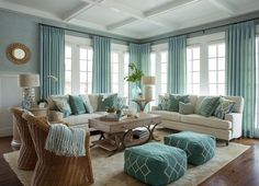 Interior design Living Room Beach - Get the full details to recreate this gorgeous turquoise coastal living room with our tips and hints and full shopping sources Coastal Living Rooms, Living Room Interior, Home Living Room, Living Room Designs, Apartment Living, Beach Living Room, Apartment Furniture, Coastal Cottage, Living Room Themes