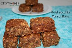 Plantivores | These moist zucchini carrot bars are a wholesome treat for breakfast, snacktime or dessert. Vegan, oil-free, gluten-free.