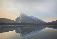 Ken Harrison - Good Morning Rundle 60 x 84 Oil on canvas (2021) Good Morning, Oil On Canvas, Mountains, Landscape, Artist, Nature, Travel, Buen Dia, Scenery