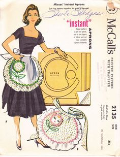 McCalls 2135 1957 instant apron sewing pattern uncut
