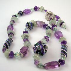 Beaded Bead necklace seed bead weaving amethyst by TheBeadedBead, $195.00
