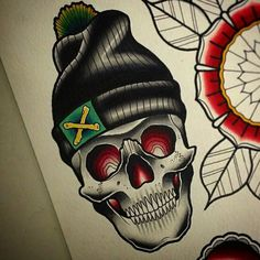 #traditional #tattoo #skull                                                                                                                                                                                 More