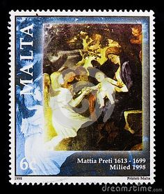 MOSCOW, RUSSIA - OCTOBER 3, 2017: A stamp printed in Malta shows Rest on the flight to Egypt, Christmas 1998 serie, circa 1998