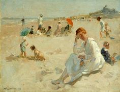 Lodewijk 'Louis' Soonius (1883-1956) Figuren op het strand van Scheveningen met het Kurhaus op de achtergrond, 1919. Art And Illustration, Sand And Water, Classic Paintings, Dutch Painters, Impressionist Paintings, Beach Scenes, Beach Art, Painting Inspiration, Painting & Drawing