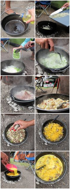 Camping: Mountain-man/Beach-man Dutch Oven Breakfast of champions!
