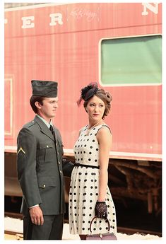vintage train station engagement session, 1940's themed, military, @Kristin Vining Photography Charlotte, NC Wedding Photographer