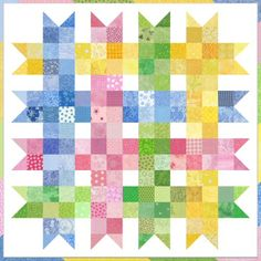 """Scrap Happy Baby Ribbons with Scrappy Binding. 3.5""""squares & HST's"""