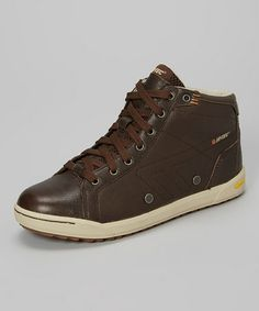 Dark Chocolate & Stone Sierra Leather Hi-Top Sneaker #zulily #zulilyfinds