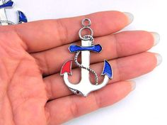 Lot 2 Silver Tone Anchors METAL ENAMEL Pendants Charms