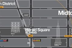 """NYC wayfinding: """"The landmarks are layered into other information on the map. Subways are indicated by tabs that resemble station signs."""""""
