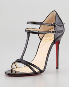 Zoom +                                             Christian Louboutin T-Strap Patent Red Sole Sandal, Black