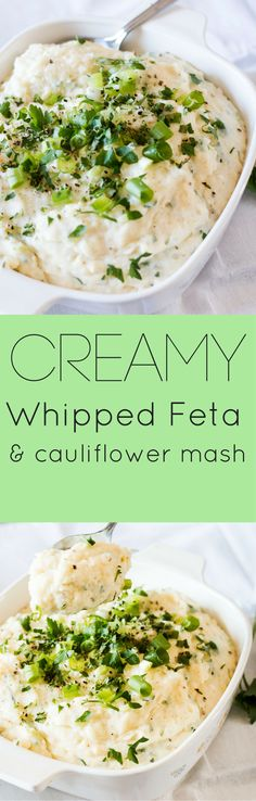 Creamy Whipped Feta and Cauliflower Mash Recipe A light and creamy alternative, Whipped Feta and Cauliflower Mash will delight your guests and have them coming back for seconds. Side Dish Recipes, Vegetable Recipes, Vegetarian Recipes, Healthy Recipes, Mashed Cauliflower, Cauliflower Recipes, Kitchen Recipes, Cooking Recipes, Whipped Feta