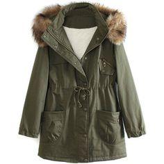 Military Green Pocket Detail Detachable Faux Fur Hood Parka Coat