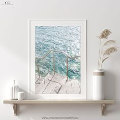 Photography art print of sunshine glittering on crystal clear green water below stone steps leading down to a beach in the Mediterranean. Coastal Wall Decor, Fine Art Prints, Framed Prints, Stone Steps, See Images, Fine Art Paper, Natural Wood, Stepping Stones