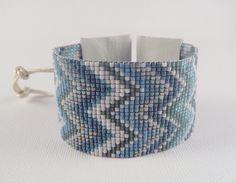 Geometric Chevron Cuff in Blues Wide Loom Beaded by knitjewels