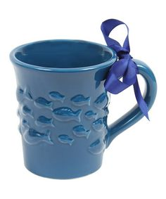 blue fishie ceramic mug
