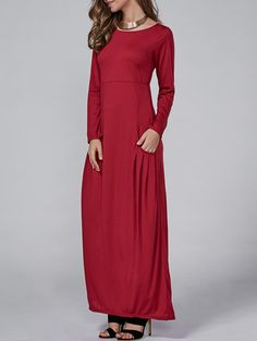 High Waist Long Sleeve Maxi Dress in Red | Sammydress.com