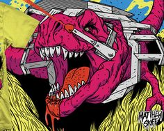 M6: T-Rex used to be an animal. this is the style of comic book art i love so much.