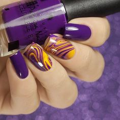 Purple and yellow nails