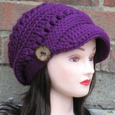 PDF CROCHET PATTERN Instant Download - Brooklyn Newsboy Brimmed Beanie Hat - Permission to Sell