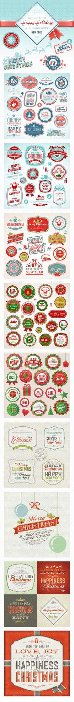 Christmas and New Year Vintage Badges Template EPS, AI #design Download: http://graphicriver.net/item/christmas-and-new-year-vintage/13769735?ref=ksioks