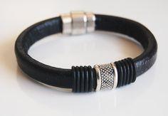 Men's Black Licorice Greek Leather by FerozasjewelryForMen on Etsy, $40.00