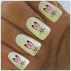 Easter Nail Decal 20 Bunny Vinyl Adhesive Decals by NailTrends