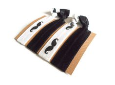 Elastic Hair Ties Black and White Mustache Yoga by MadebyMegToo, $5.00 #blackandwhite #mustache #hairties #hairbands #nocrimp #armcandy #mustachehairties #yogahairbands #yoga