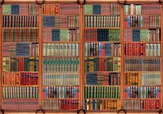 Dolls House Victorian Wallpaper Library Books by miniaturecorner