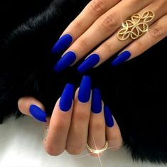 electric blue coffin nails