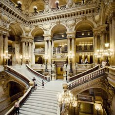 When you walk into the opera house in Paris, the Palais Garnier, you'll be instantly struck by its opulence — the staircase, the sculptures, the chandelier weighing over six tons. More than a theater, the Paris Opera is a palace.